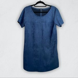 Ivy & Leo blue faux suede mini shirt dress